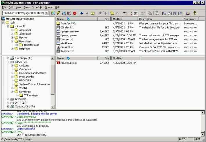 FTP Voyager 7.1 Screenshot